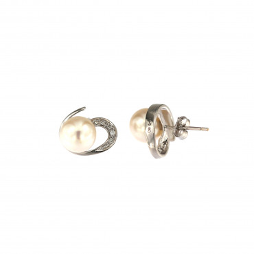 White gold pearl earrings BBBR03-01-02