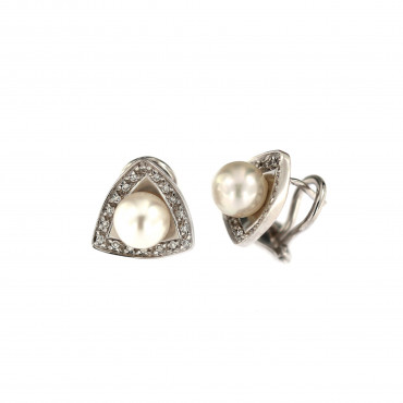 White gold pearl earrings BBBR03-02-01