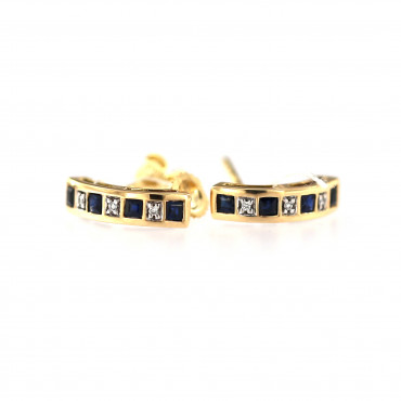 Yellow gold earrings with sapphires and diamonds BGBR04-01-01