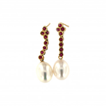 Yellow gold earrings with ruby and pearls BGBR04-02-01