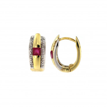 Yellow gold earrings with ruby and diamonds BGBR04-02-02