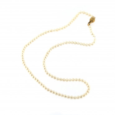 Yellow gold pearl strand necklace CPRLG01-01