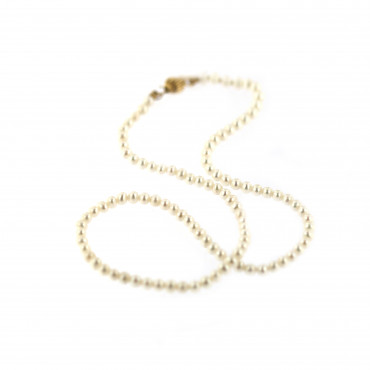 Yellow gold pearl strand necklace CPRLG01-02