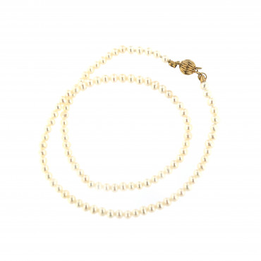 Yellow gold pearl strand necklace CPRLG01-04