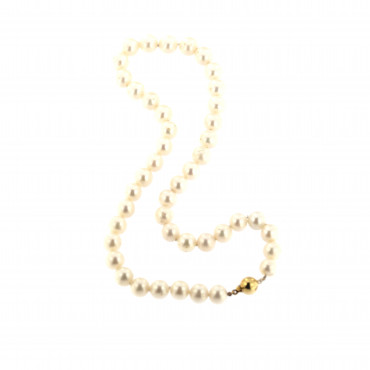 Yellow gold pearl strand necklace CPRLG02-01