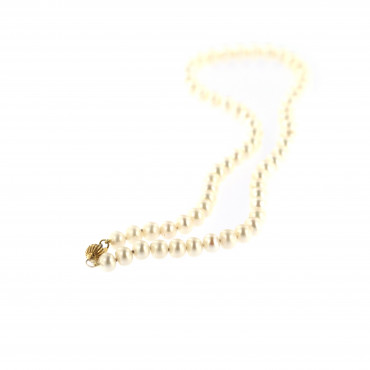Yellow gold pearl strand necklace CPRLG02-02