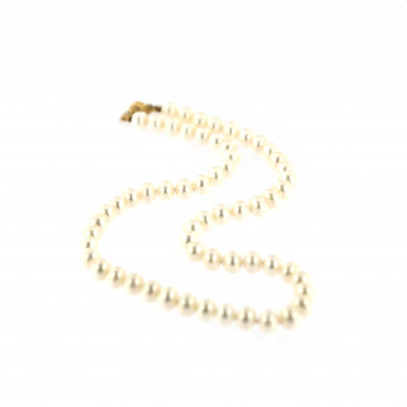 Yellow gold pearl strand necklace CPRLG02-03
