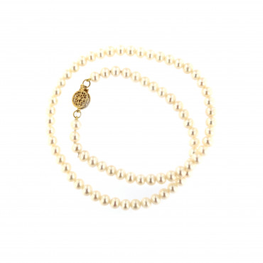 Yellow gold pearl strand necklace CPRLG02-04