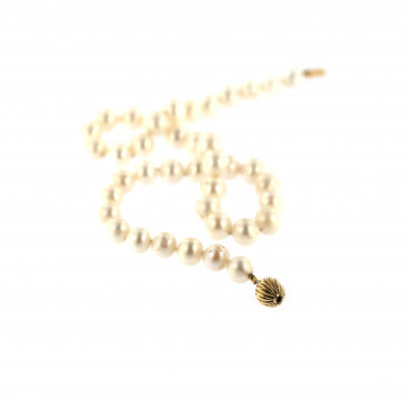 Yellow gold pearl strand necklace CPRLG02-05