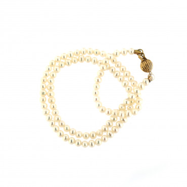 Yellow gold pearl strand necklace CPRLG02-06