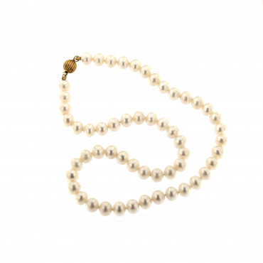 Yellow gold pearl strand necklace CPRLG02-07
