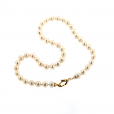 Yellow gold pearl strand necklace CPRLG02-08