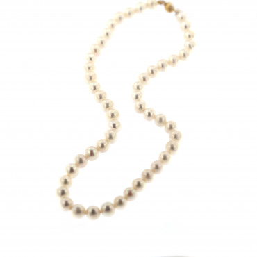 Yellow gold pearl strand necklace CPRLG02-09