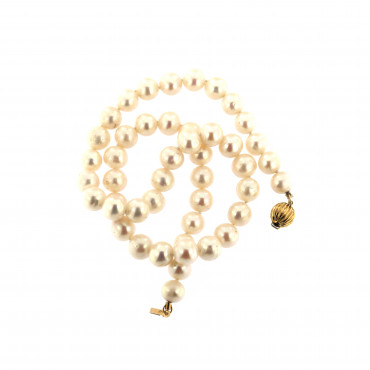 Yellow gold pearl strand necklace CPRLG03-01