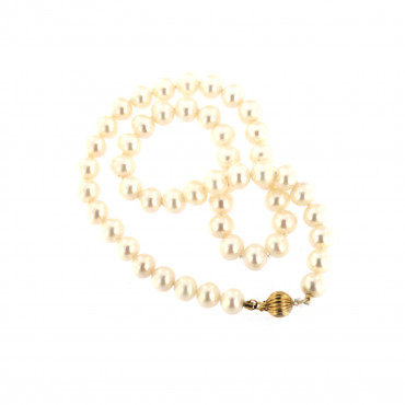 Yellow gold pearl strand necklace CPRLG03-02