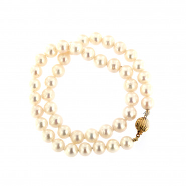 Yellow gold pearl strand necklace CPRLG03-03