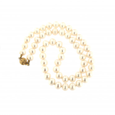 Yellow gold pearl strand necklace CPRLG03-04