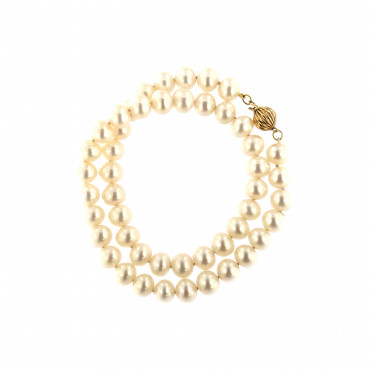 Yellow gold pearl strand necklace CPRLG03-05