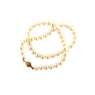Yellow gold pearl strand necklace CPRLG03-06