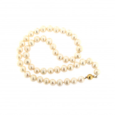 Yellow gold pearl strand necklace CPRLG03-07