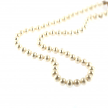 Yellow gold pearl strand necklace CPRLG03-08