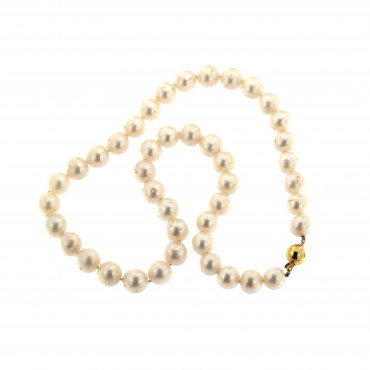 Yellow gold pearl strand necklace CPRLG03-10