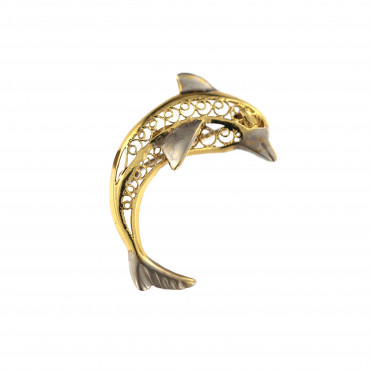 Yellow gold dolphin brooch FGS05-01
